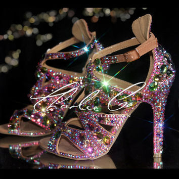 CHARLIE CO. Jungle Jewels pink peep toe Vitrail Swarovski strappy sandal high heels nude stiletto Designer