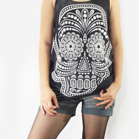 SKULL ROCK Design Art White Bone Death Goth Gothic Skull Shirt Women Tank Top Black T-Shirt Tunic Top Singlet Vest Women T-Shirt Size S M