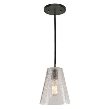 JVI Designs BKIT-1300-18-G2-CK Grand Central Gun Metal One Light Mini Pendant with 7.5-Inch Crackled Blown Glass Shade