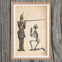 Vintage Military Print Skeleton Poster Antique Wall Art