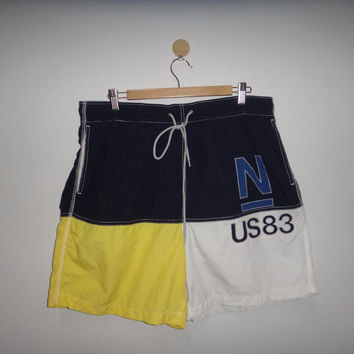 Vintage NAUTICA Short Pants Surf Board Surf Street Spell Out 1990s Beach Hawaii Nautica Big Logo N US83 Surfing Boarding
