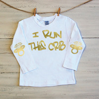 Infant T Shirt I Run This Crib Long Sleeve Tee Diamond Pacifier Elbow Patches