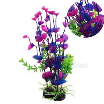 Free Shipping Stunning Purple Artificial Plastic Grass Fish Tank Water Plant Aquarium Decor