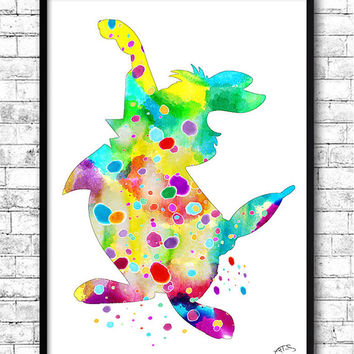 White Rabbit Alice in Wonderland, Watercolor Print, llustrations, Art Print,Kid's Room,Wall Poster,Giclee Wall Decor,Home Decor Wall Hanging