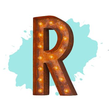 "12"" Letter R Lighted Vintage Marquee Letters (Modern Font/Rustic)"