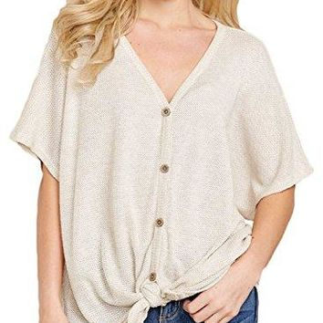 Jevole Womens Loose Blouse Short Sleeve Button Down Shirts Tie Knot Casual Tops