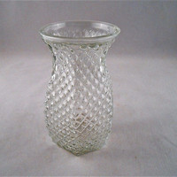 "Small Vintage Hoosier Clear Glass Diamond Pattern Flower Vase 5.5"" Tall"