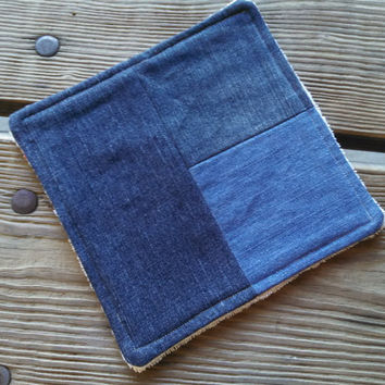 Hot Pad / Pot Holder / Dish Rag / Repurposed Denim Patchwork / Plush ORGANIC Terry Cloth / Eco Friendly Gift