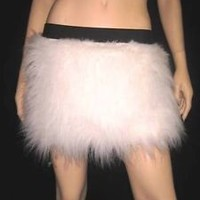 WHITE FLUFFY FURRY SKIRT COVERS NEON  PARTY  RAVE DANCE CLUBWEAR CHRISTMAS EMO