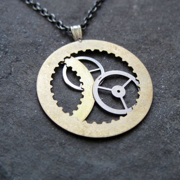 "Clockwork Pendant ""Satellites"" Recycled Mechanical Watch Gears and Intricate Sculpture Wearable Art Not Quite Steampunk Assembly Necklace"