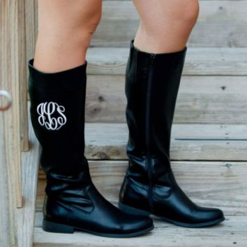 Black Tall Boots with Monogramming Option (Women's Sizing) sz 6-11