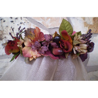 Floral head wreath Autumn bridal crown renaissance faerie costume hair piece