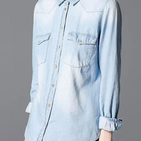 Faded Blue Double Pockets Long Sleeve Denim Blouse
