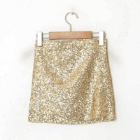 SEQUIN SKIRTS gold silver black tight bodycon glitter skirt con womens ladies