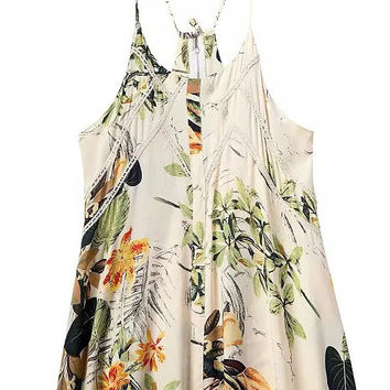 Apricot Spaghetti Strap Leaves Print Lace Pleated A-Line Mini Dress