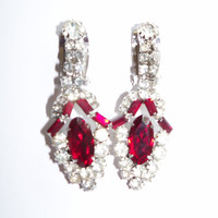 Vintage Earrings Clear and Burgundy Rhinestones Signed Wedding Jewelry Jewellry Bridal Party Prom Opera Birthday Christmas Gift