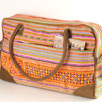 Large Overnight Weekender Travel Bag Ethnic Embroidered, Tribal, Gypsy, Boho, Hippie Style Carry on baggage, Suitcase, For Women/Men