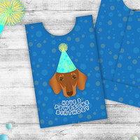Birthday Gift Card Holder, Dachshund in birthday hat, holds standard size cards, blue polkadot envelope, instant download, Buy 2 Get 1 Free