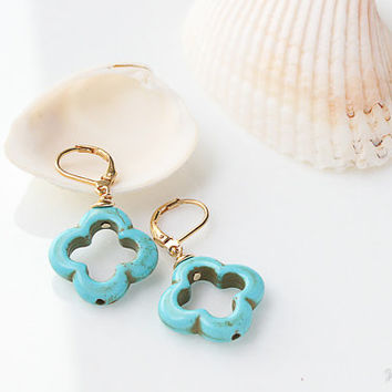 Turquoise Flower Earrings, December Birthstone