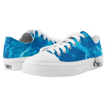 Blue water printed shoes
