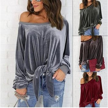 Women Simple Casual Solid Color Loose Long Sleeve Oblique Collar Bow Bandage T-shirt Tops