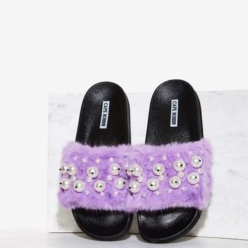 Ball's in Your Court Faux Fur Slide Sandal - Purple