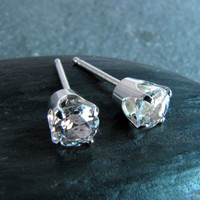 Prong Set White Topaz Stud Post Earrings - 5mm - April Birthstone - Diamond Alternative