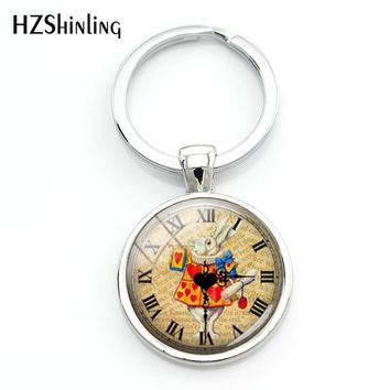 2018 Fashion Alice In Wonderland Keychain Fairy Tale Keyring Rabbit Key Chain Glass Dome Key Chains Keyrings For A Woman