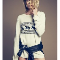 For Love & Lemons Knitz Alpine Pullover Sweater in Ivory