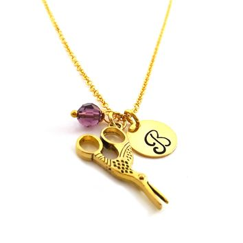Scissor Charm - Personalized Initial Hand Stamped Gold Necklace