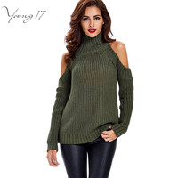 Young17 Long Sleeve Turtleneck Sweater Women Knitted Casual tricot Pullover Jumpers Female 2016 Fall Winter off shoulder Sweater