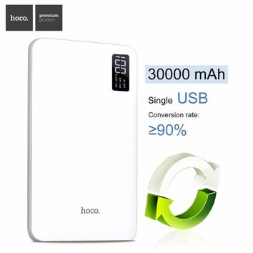 HOCO B24 30000mAh Power Bank Portable Charger With Display Triple USB Mobile Phone External Battery For iPhone Xiaomi Powerbank