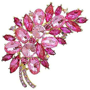 Bai You Mei Womens Vintage Brooches and Pins Fashion Feather Design Crystal Rhinestone Brooch