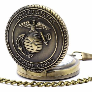 Bronze Marine Corps Pocket Watch