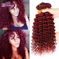Beautiful cexxy peruvian virgin hair wet and wavy red human hair extension 4pcs lot burgundy ombre 99j peruvian tight deep curly