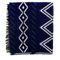 Double Diamond Navy Oversized Scarf