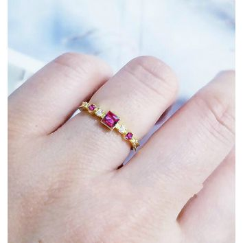 Cute Dainty Women's Fashion 14K Gold Plated Square Ruby Ring Delicate w/ Gemstone
