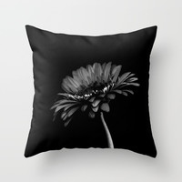Daisy gerbera. Black and white Throw Pillow by vanessagf