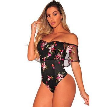 Women's Off Shoulder One Piece Floral Pool Party Bodysuit Swimsuit With Ruffled Cape Sleeve
