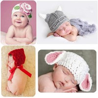 Baby Cute Winter Knitted Hat Boys Girls Infant Cartoon Weave Photography Props Kids Crochet Outfits Newborn Warm Wool Caps