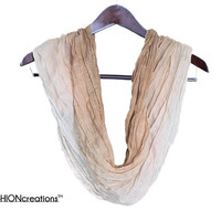 Ombre Scarf Beige scarf dip dyed scarf Ombre indigo scarf spring scarf, loop scarf fashion acessories for women