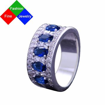 BSL Fine Jewelry Real 925 Sterling Silver Vintage Created Gemstone Blue Sapphire Rings For Women Wedding / Engagement Size 6-10