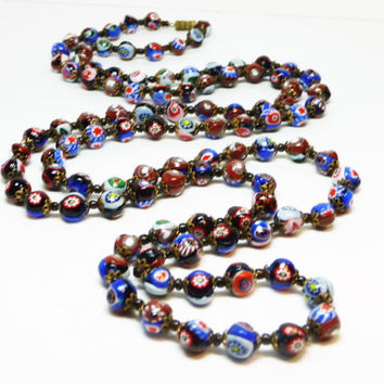 "Vintage Millifiori Venetian Glass Bead Necklace with Barrel Clasp - 104 Beads Rope 48"" Length"