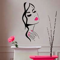Beauty Salon Girl Face Vinyl Sticker