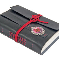 Black Faux Leather Wrap Journal with Heart Cameo Bookmark