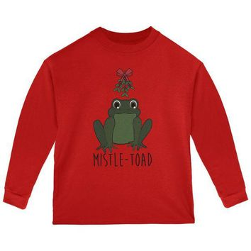LMFCY8 Christmas Mistletoe Toad Funny Pun Toddler Long Sleeve T Shirt