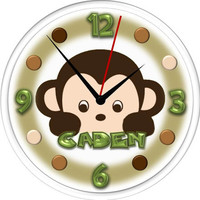 Wall Clock - Personalized  -Made to match Mod Pod Pop Monkey - Baby gift
