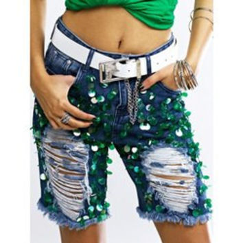 Fashionable Sequined Denim Ripped Shorts Womens