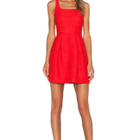1. STATE Square Neck Dress in Cherry
