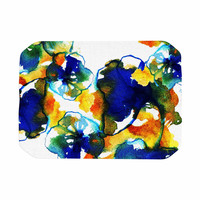 """Sonal Nathwani """"Blue Orange Floral"""" Abstract Watercolor Place Mat"""